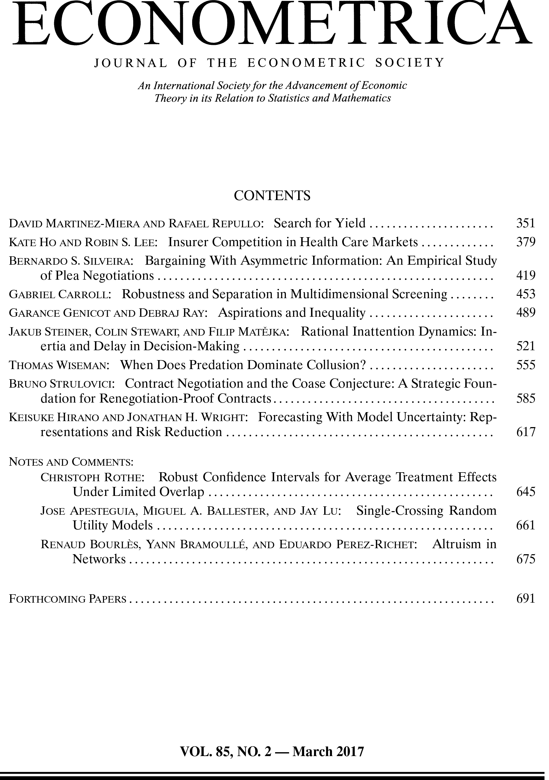 Econometrica JAN 2017, VOLUME 85, ISSUE 1