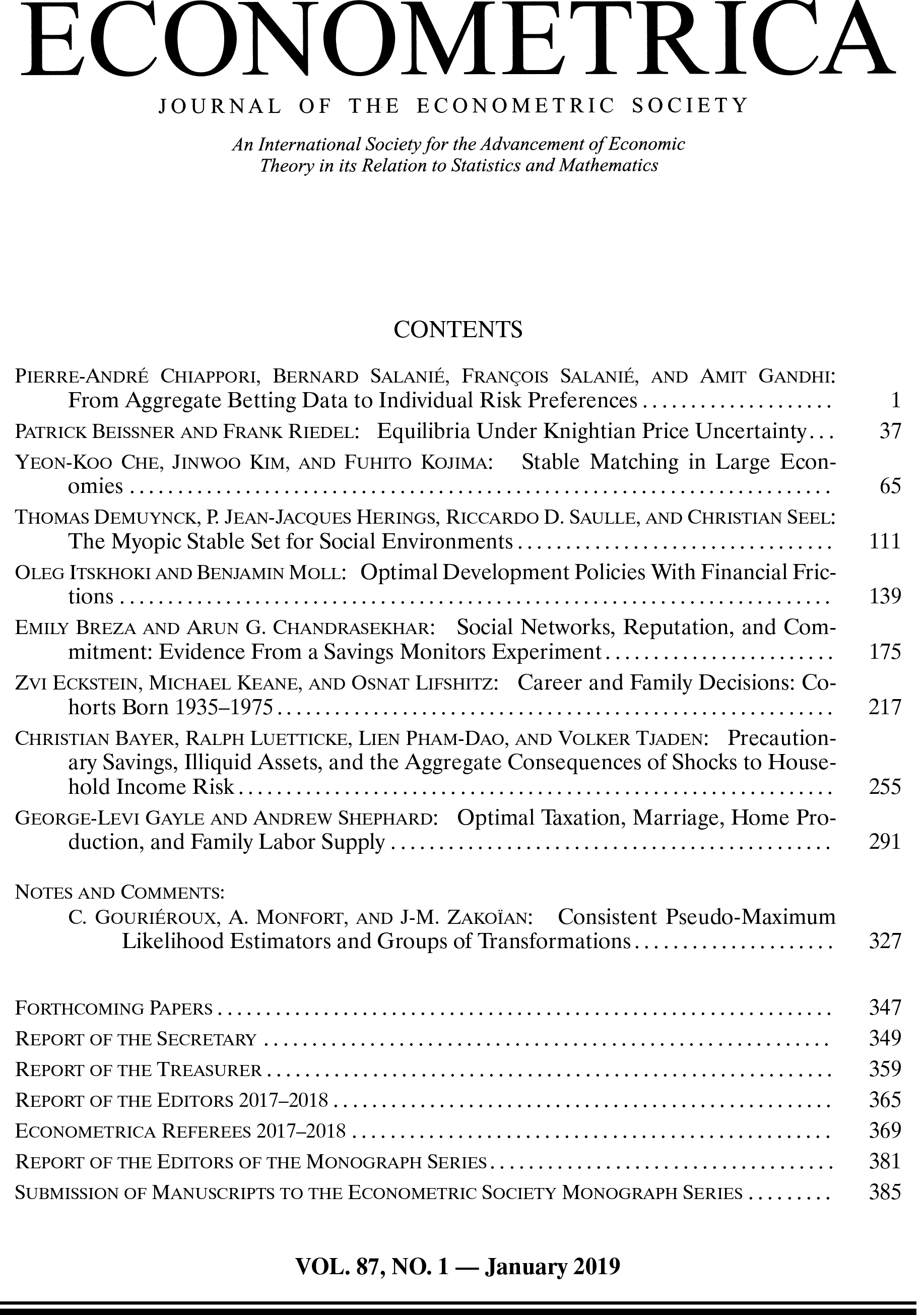 Econometrica JAN 2019, VOLUME 87, ISSUE 1