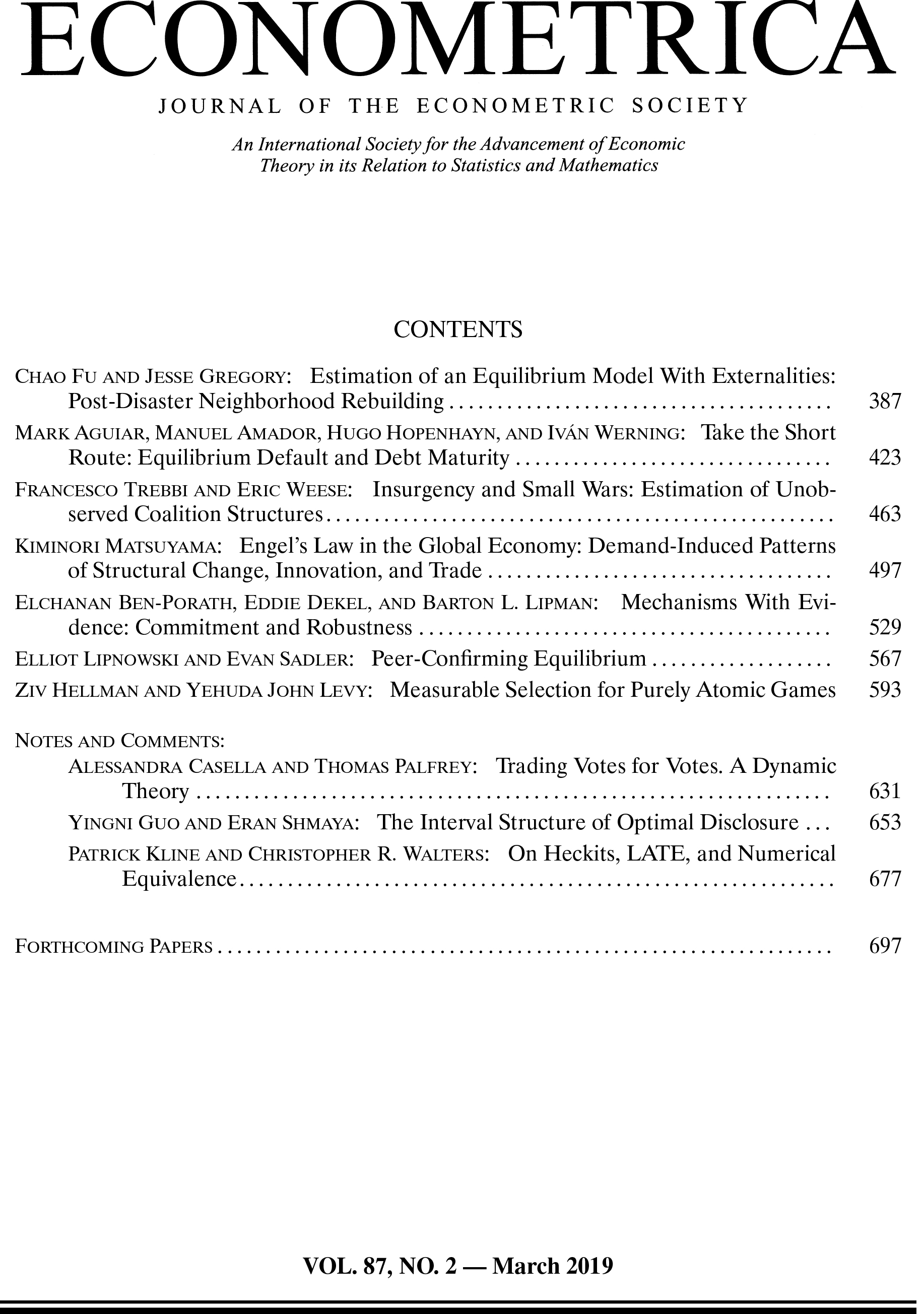 Econometrica Volume 87, Issue 2