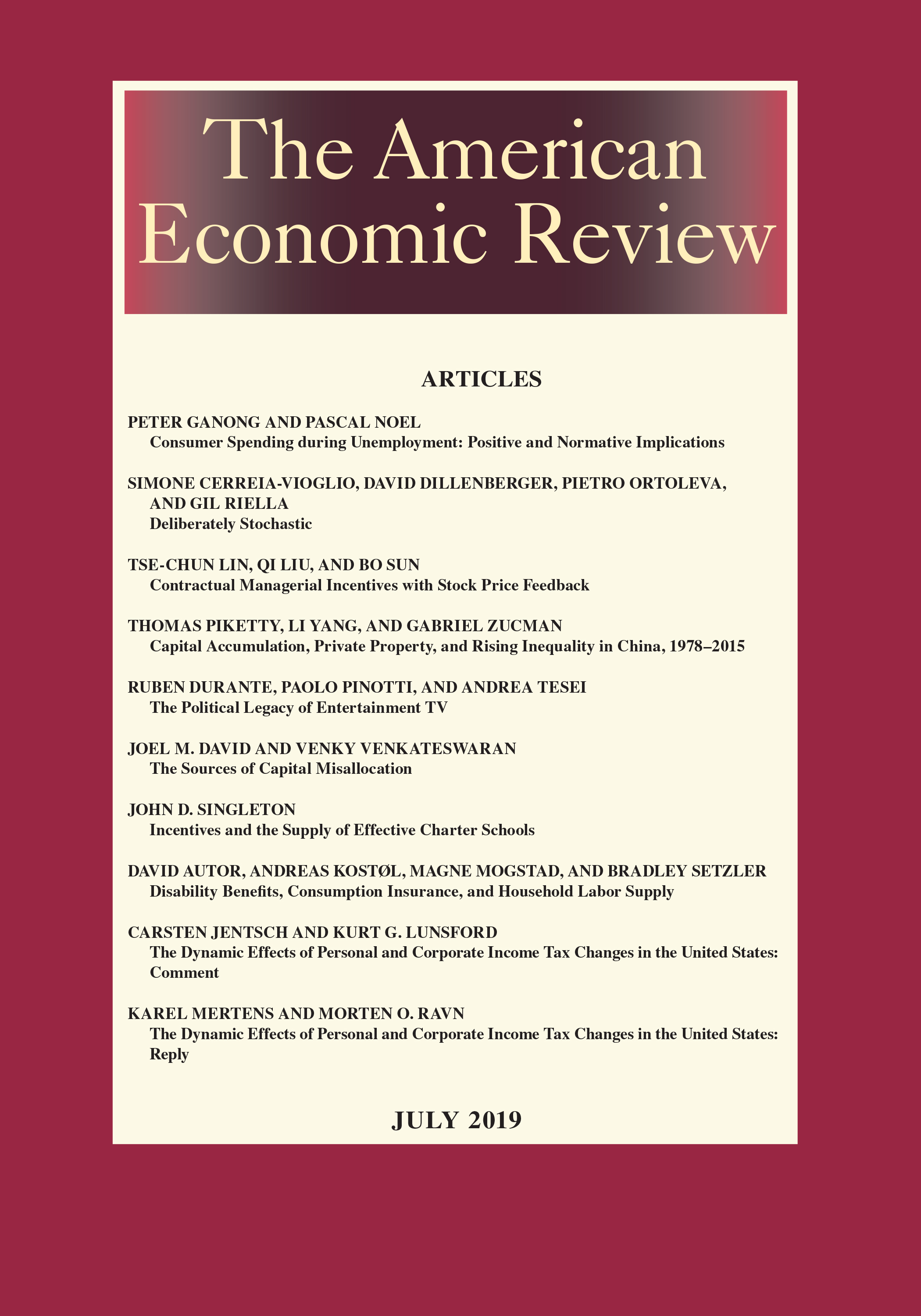 AMERICAN ECONOMIC REVIEW VOL. 109, NO. 7, JULY 2019