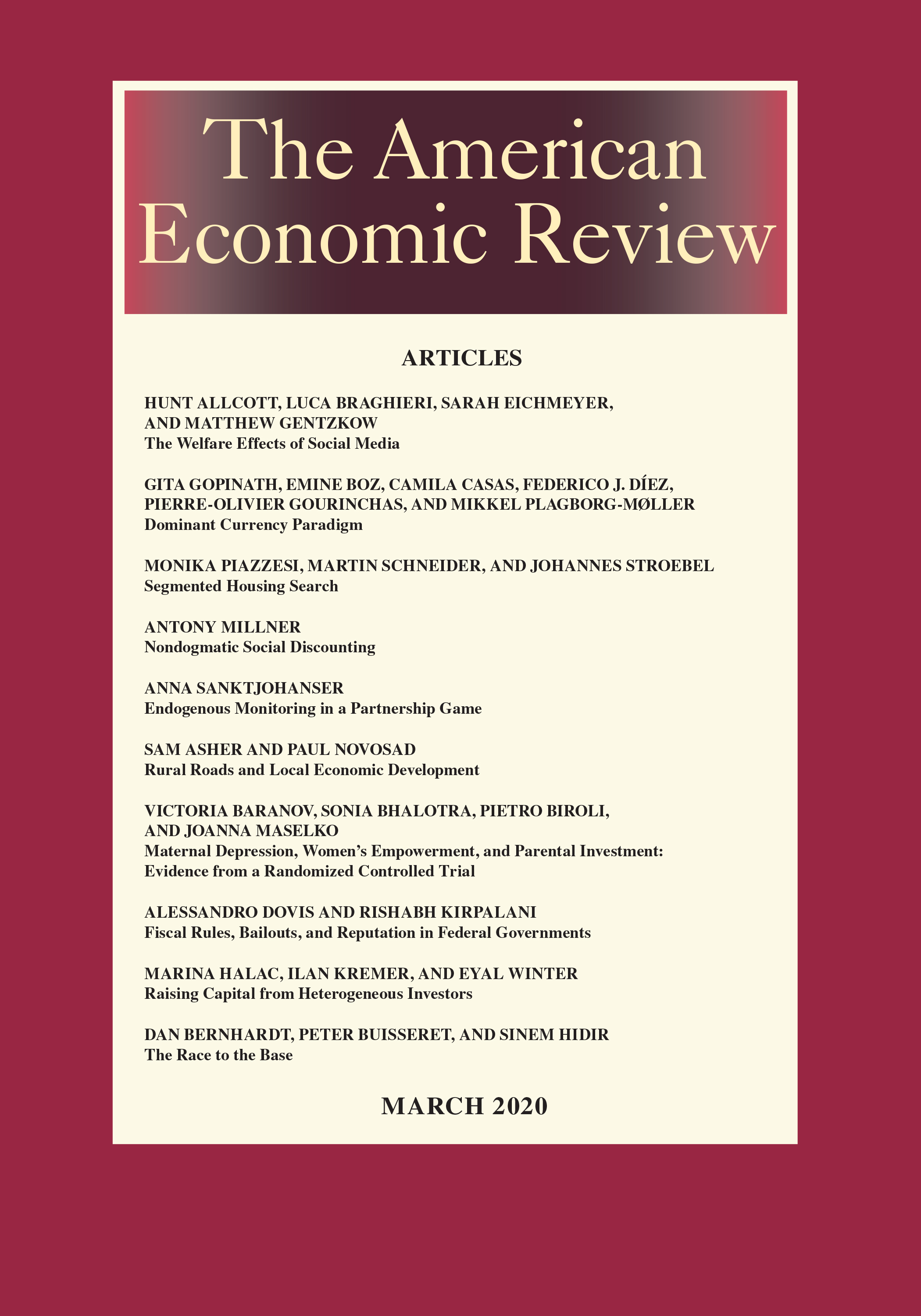 American Economic Review Vol. 110 No. 3 March 2020