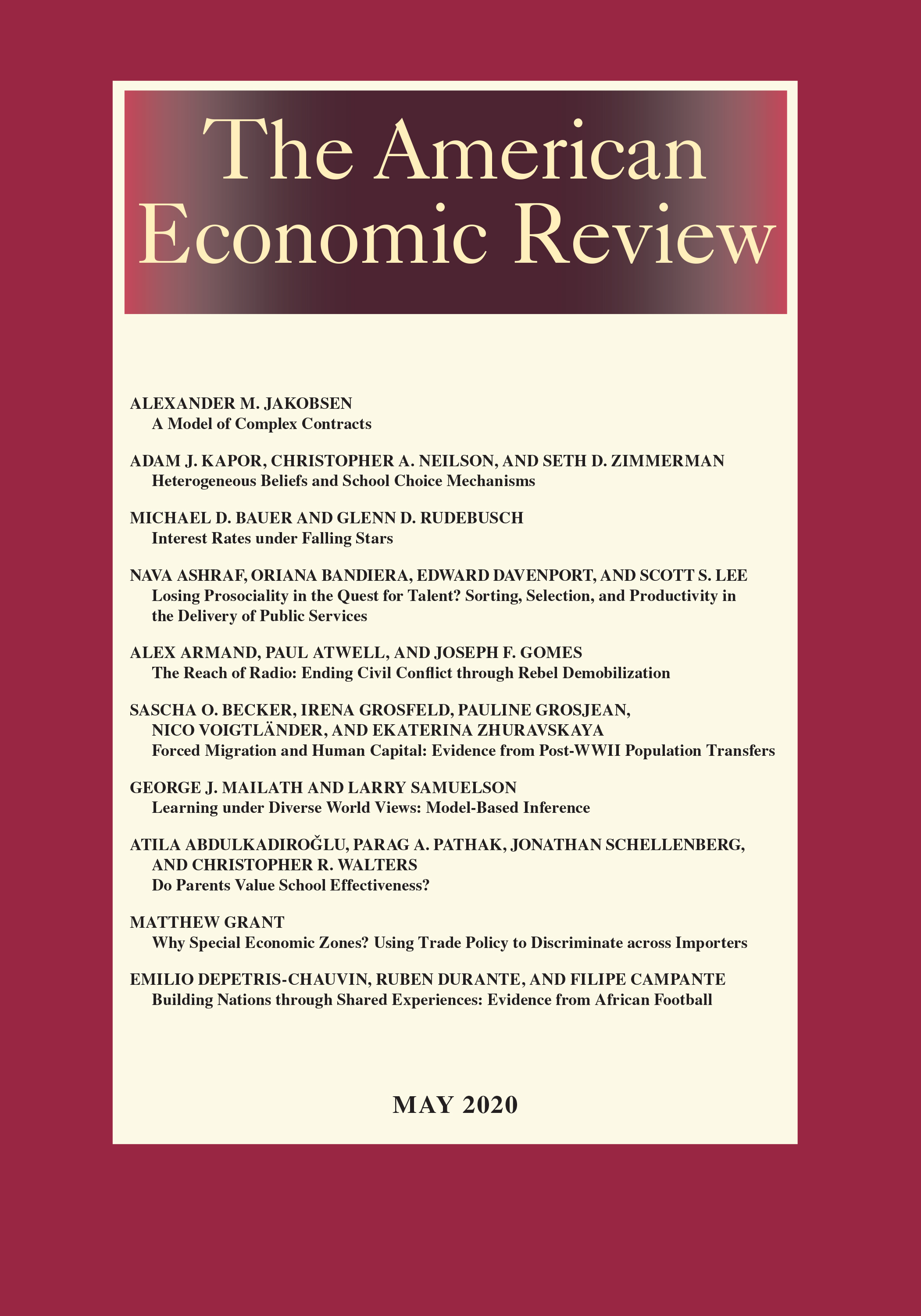 American Economic Review Vol. 110 No. 5 May 2020