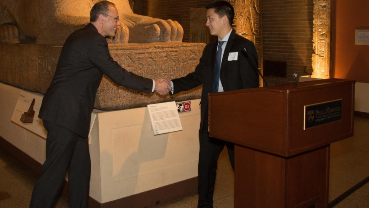 Lawrence R. Klein Prize for Outstanding Research by an Undergraduate Presented to Kevin Chen by Professor of Economics and Undergraduate Chair, Frank Schorfheide