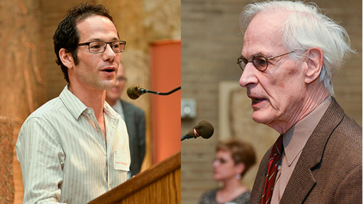 The winners of the Irving B. Kravis Prize for Distinction in Undergraduate Teaching were David Dillenberger (left) for tenure track faculty and Jere Behrman (right) for tenure faculty.