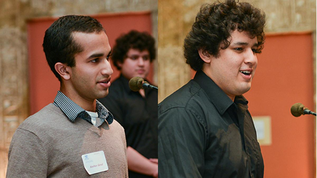 The co-winners of the Kanta Marwah Undergraduate Research award were Keshav Garud (left) and Julio Reynaga Galeas.