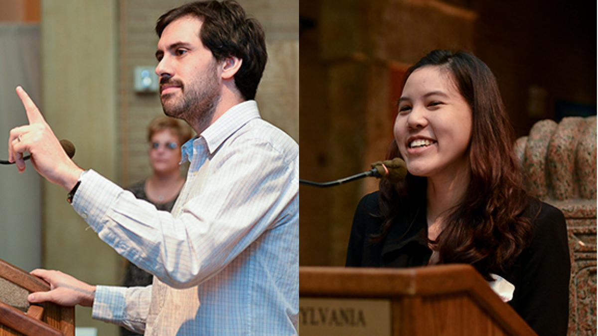 The Hiram C. Haney Fellowship Award in Economics was shared by Nicolas Grau (left) and Tanida Arayavechkit (right).