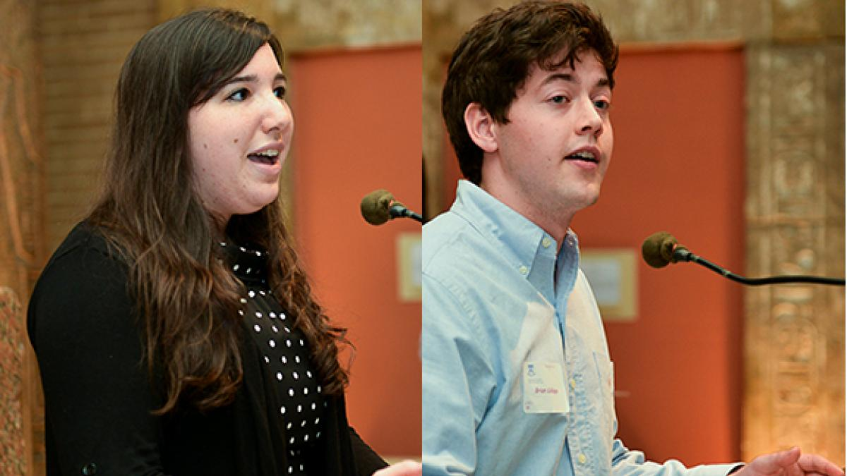 The Simon Kuznets Fellowship Award in Economics was shared this year by undergraduates  Jennifer Matte (left) and Brian Collopy (right).